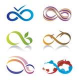 Conjunto de iconos del símbolo del infinito Imagen de archivo libre de regalías