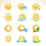 Conjunto de iconos del sol Imagenes de archivo