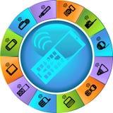 Conjunto de iconos del teléfono - rueda Fotos de archivo libres de regalías