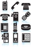 Conjunto de iconos del teléfono - blancos y negros Fotos de archivo