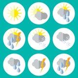Conjunto de iconos del tiempo Diseño plano Vector Foto de archivo