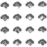 Conjunto de iconos del vector Concepto del almacenamiento de la nube Fotografía de archivo