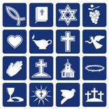 Conjunto de iconos del vector del cristianismo religioso Foto de archivo libre de regalías