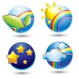 Conjunto de iconos del Web de la naturaleza Fotografía de archivo libre de regalías