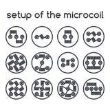 Conjunto de iconos Disposición del microcoil ilustración del vector