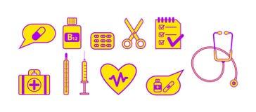 Conjunto de iconos médicos imágenes de archivo libres de regalías