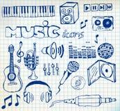 Conjunto de iconos a mano de la música Imagen de archivo libre de regalías