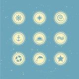 Conjunto de iconos marinas retros Foto de archivo