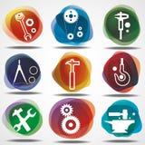 Conjunto de iconos mecánicos. Fotos de archivo