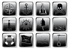 Conjunto de iconos náuticos ilustración del vector