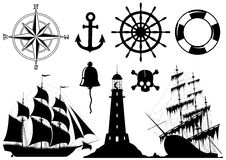 Conjunto de iconos náuticos stock de ilustración