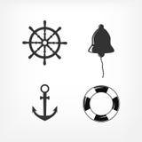 Conjunto de iconos náuticos Imagenes de archivo