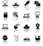 Conjunto de iconos negros del ordenador Fotos de archivo