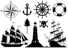 Conjunto de iconos náuticos Fotografía de archivo libre de regalías