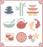 Conjunto de iconos orientales Imagen de archivo libre de regalías