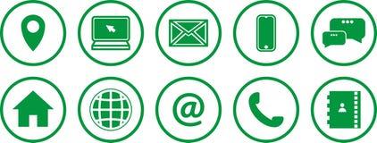 Conjunto de iconos verdes Iconos de las comunicaciones ?ntrenos en contacto con los iconos ilustración del vector