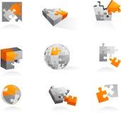 Conjunto de iconos y de insignias del rompecabezas stock de ilustración