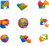 Conjunto de iconos y de insignias del rompecabezas del vector