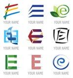Conjunto de iconos y de la letra E de los elementos de la insignia Imagenes de archivo
