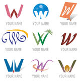 Conjunto de iconos y de la letra W de los elementos de la insignia stock de ilustración