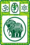 Conjunto de iconos y de símbolos indios Foto de archivo