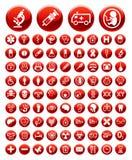 Conjunto de iconos y de señales de peligro médicos imagenes de archivo