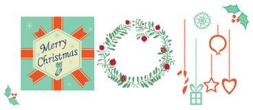 Conjunto de ilustraciones de la Navidad Foto de archivo libre de regalías
