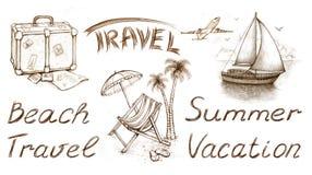 Conjunto de ilustraciones de las vacaciones stock de ilustración