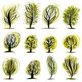 Conjunto de ilustraciones de los árboles. Fotos de archivo