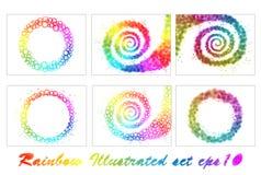 Conjunto de ilustraciones del arco iris Imagen de archivo