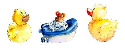 Conjunto de ilustraciones del vector del color Juguetes y objetos del cuidado Ejemplo pintado a mano de la acuarela ilustración del vector