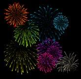Conjunto de ilustraciones del vector de los fuegos artificiales stock de ilustración