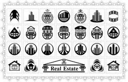 Conjunto de imágenes estilizadas de casas y de edificios Imagen de archivo libre de regalías