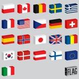 Conjunto de indicadores del mundo Bandera-cajas Imagen de archivo libre de regalías