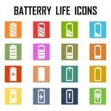 Conjunto de indicadores llanos de la carga de la batería Ilustración del Vector