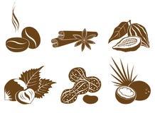 Conjunto de ingredientes del postre de los iconos del vector Fotos de archivo