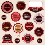 Conjunto de insignias, de escrituras de la etiqueta y de etiquetas engomadas de la venta Imagen de archivo libre de regalías