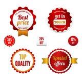 Conjunto de insignias, de escrituras de la etiqueta y de etiquetas engomadas de la venta Fotos de archivo