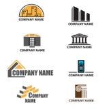 Conjunto de insignias de la compañía del edificio stock de ilustración