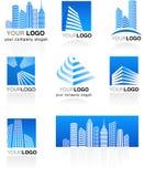 Conjunto de insignias de las propiedades inmobiliarias Fotos de archivo