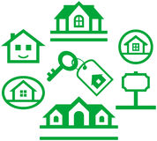 Conjunto de insignias y de conceptos de las propiedades inmobiliarias Fotografía de archivo libre de regalías