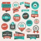 Conjunto de insignias y de etiquetas engomadas del vintage