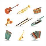 Conjunto de instrumentos de música Diseño plano del estilo Imagenes de archivo