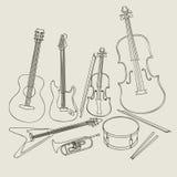Conjunto de instrumentos musicales Fotografía de archivo