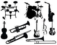 Conjunto de instrumentos musicales Imagen de archivo libre de regalías