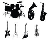 Conjunto de instrumentos musicales Imágenes de archivo libres de regalías
