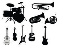 Conjunto de instrumentos musicales Imagen de archivo
