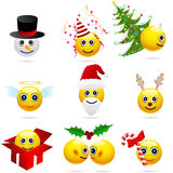 Conjunto de invierno y de caracteres lindos de la Navidad Imagen de archivo