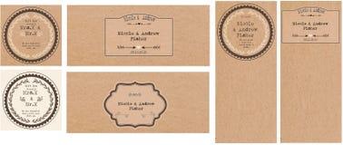 Conjunto de invitaciones de boda Imagenes de archivo