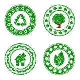 conjunto de isolat ambiental verde de los iconos Imagen de archivo
